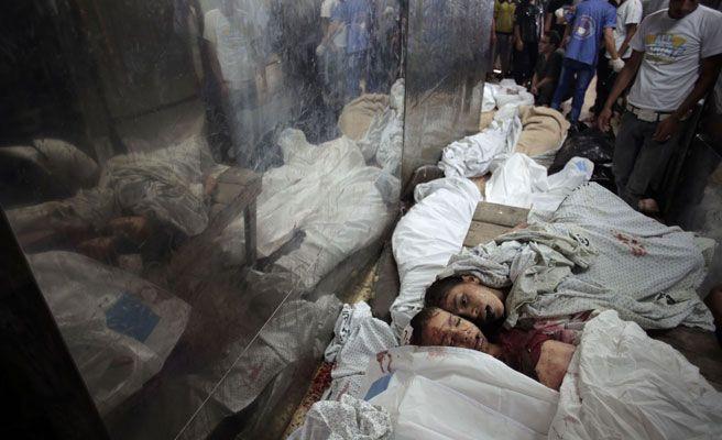 Foto: Cadáveres de niños palestinos en el hospital de Shifa. Foto: GTRES