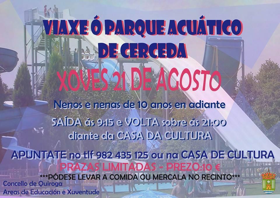 Viaxe ó Parque Acuático de Cerceda para os máis pequenos do Concellos de Quiroga
