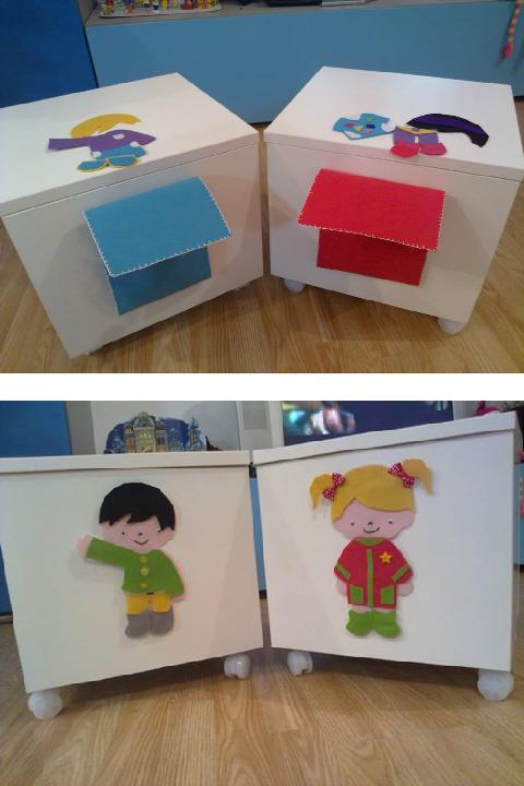 En estas imágenes podéis ver unos taburetes-cajón (la tapa se abre) y además se incorporó con un juego que en este caso son unas muñecas con ropa intercambiable.
