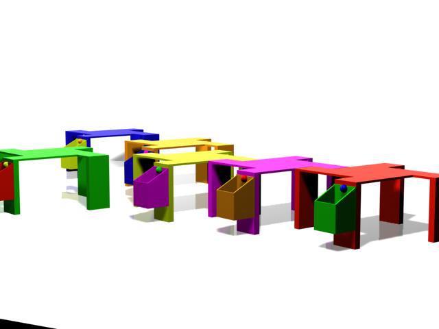 Mesas de juego apilables y encajables.