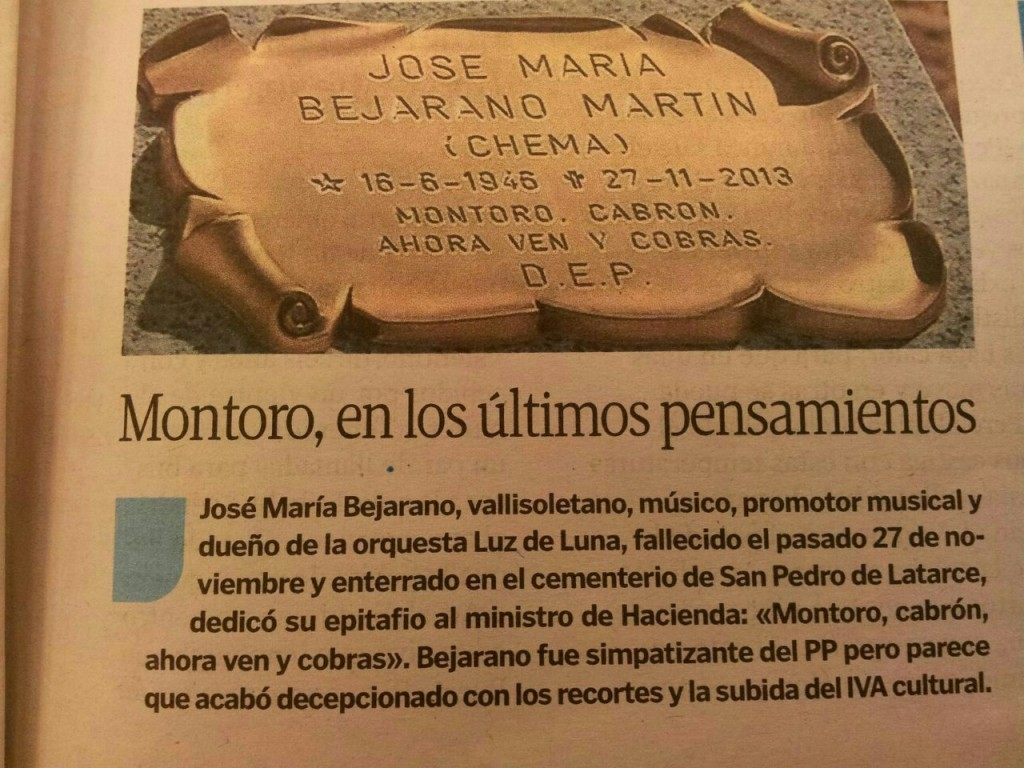Epitafio dedicado a Cristobal Montoro