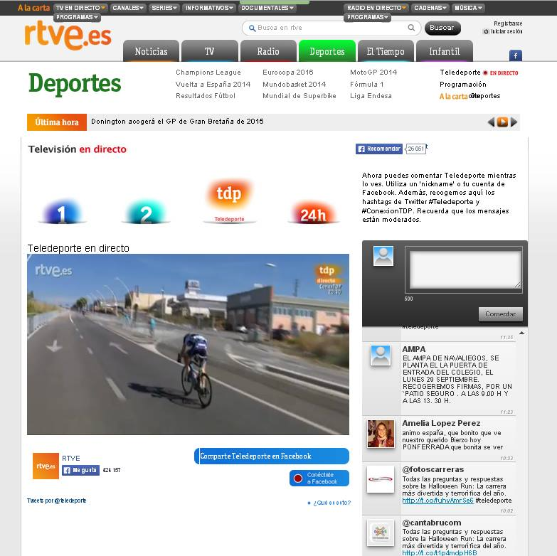 Imagen de la web de RTVE