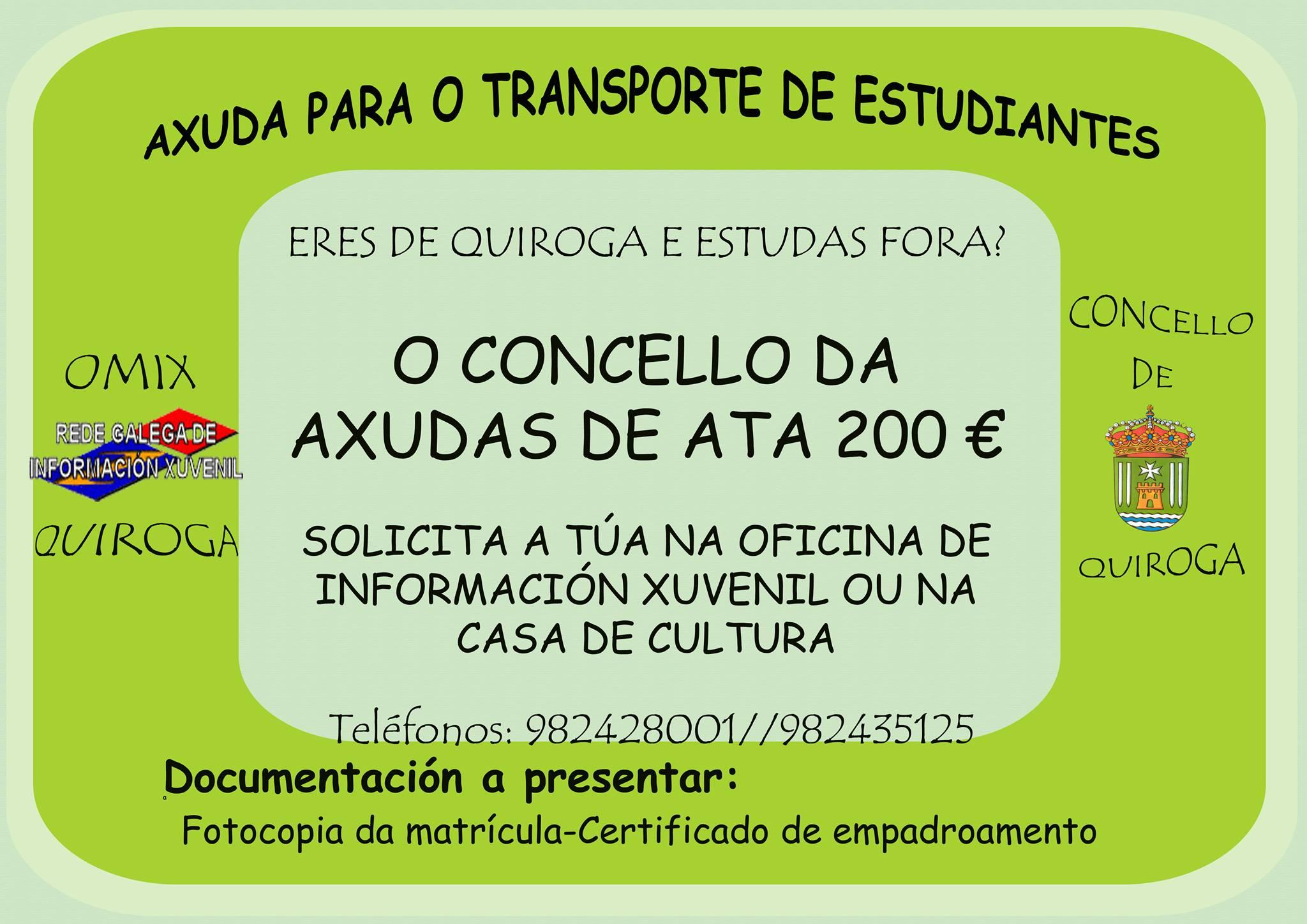 O Concello de Quiroga abre a solicitude de axudas para o transporte de estudiantes