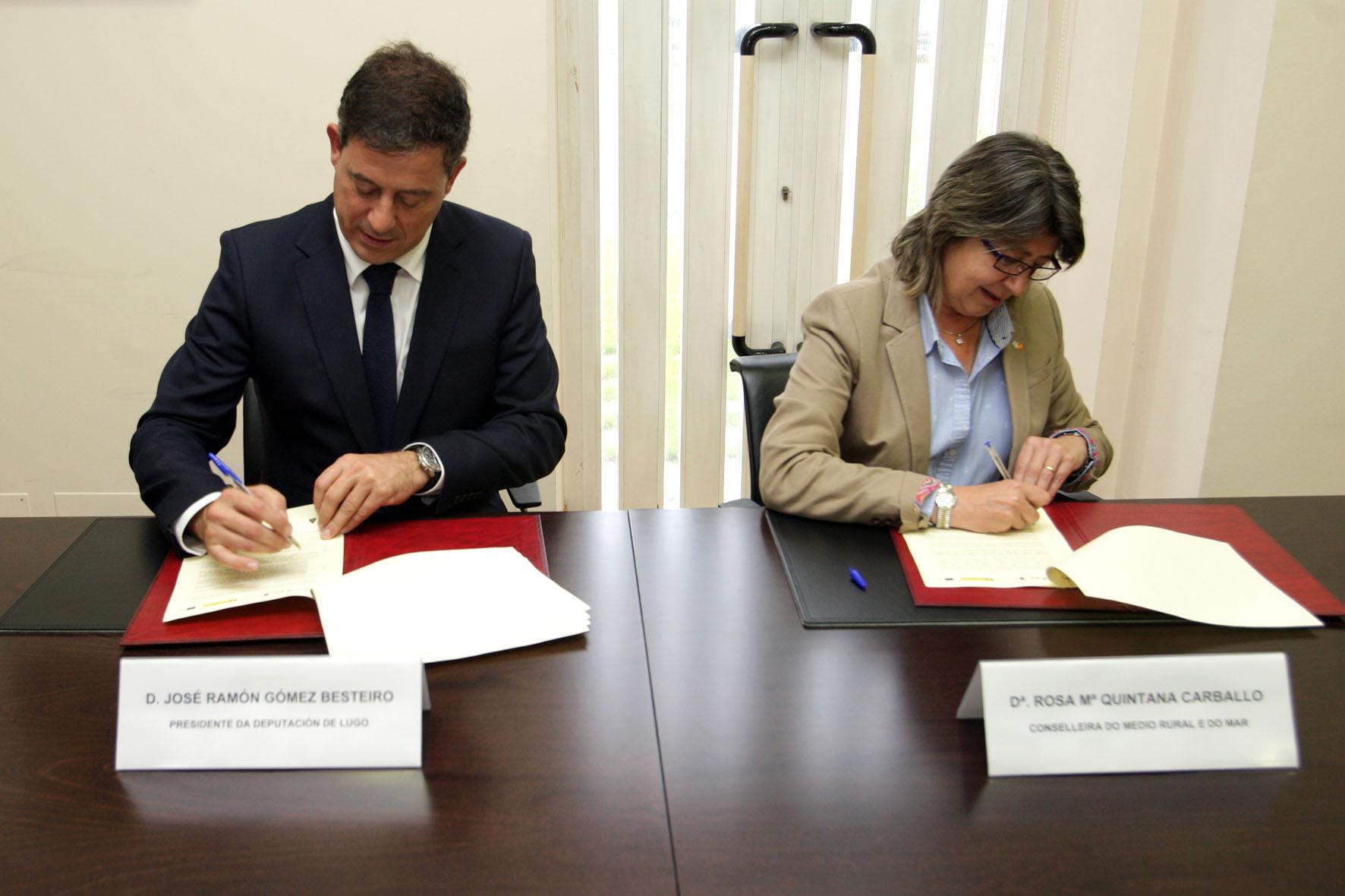 A conselleira do Medio Rural e do Mar, Rosa Quintana e o presidente da Deputación Provincial de Lugo, José Ramón Gómez Besteiro