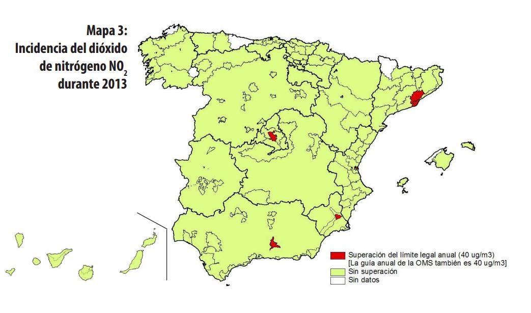 En el mapa de Ecologistas en Acción se puede ver en blanco la comarca de Valdeorras al carecer de datos de análisi