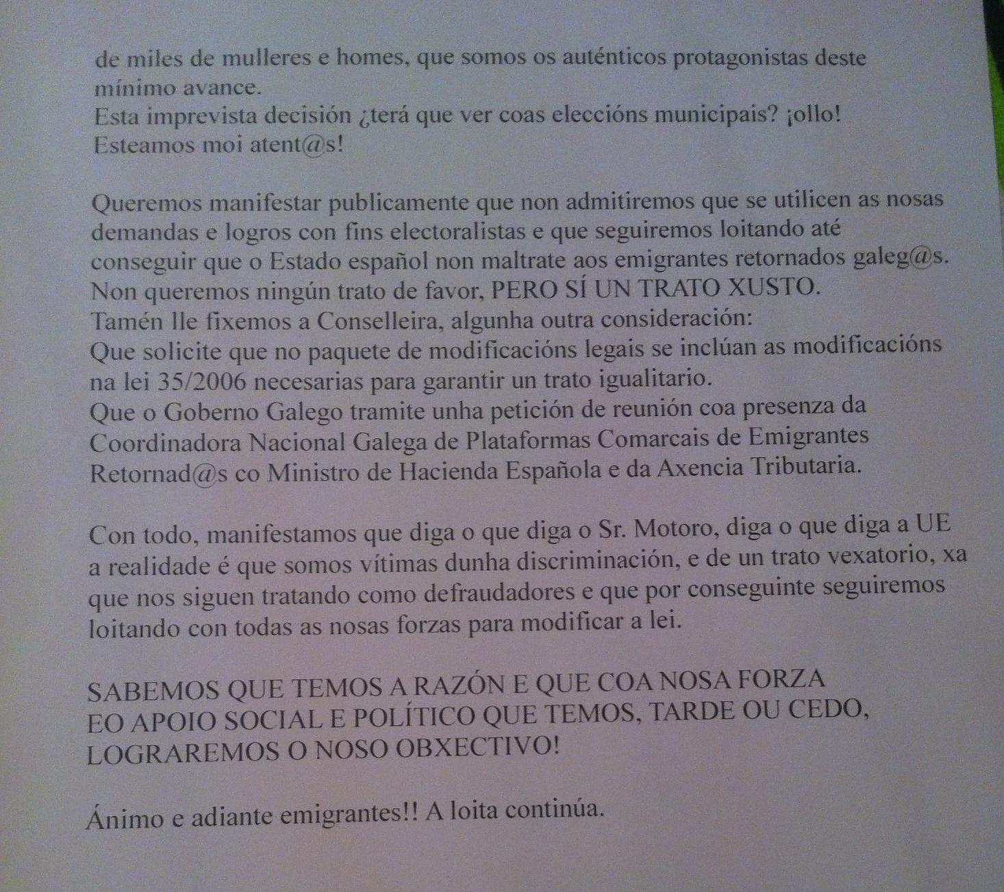 Manifesto 2/2 Colectivo emigrantes retornados