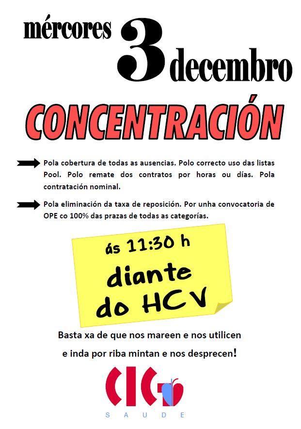 A CIG-Saúde convoca concentración polo emprego digno no SERGAS en O Barco para a vindeira semana