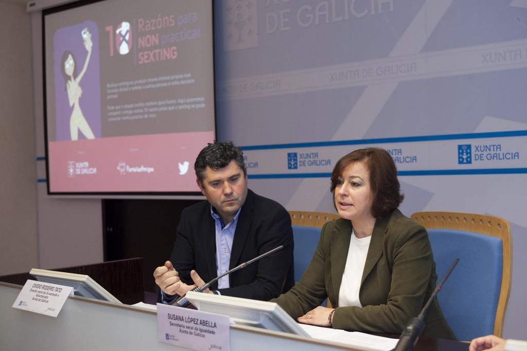 A secretaria xeral de Igualdade, Susana López Abella, e o director de Xuventude e Voluntariado, Ovidio Rodeiro, presentaron hoxe a campaña contra o sexting, '10 razóns para non practicar sexting'