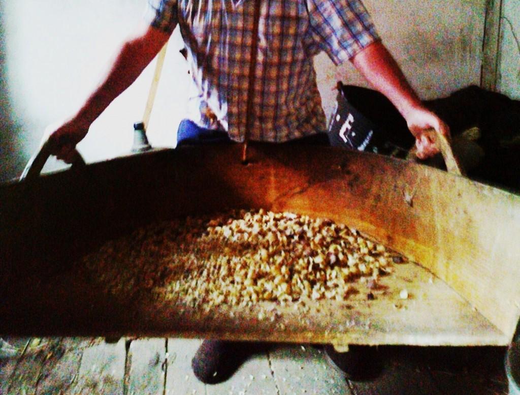 Un vecino de la comarca de Valdeorras sostiene un antiguo utensilio empleado para mover la castaña pelada   para su posterior secado