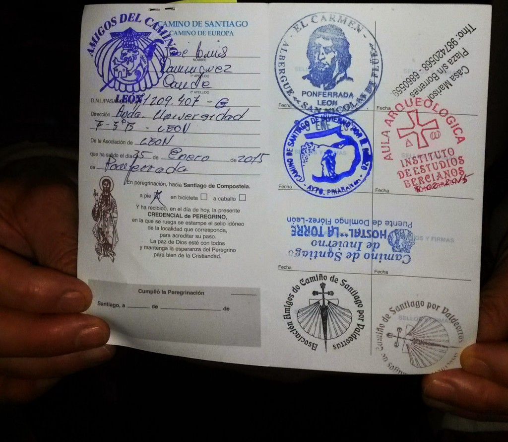 credencial o carta del peregrino
