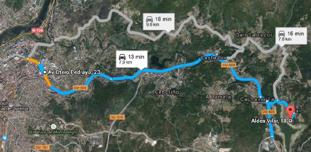 Plano de acceso ao lugar da plantación en Cachamuiña