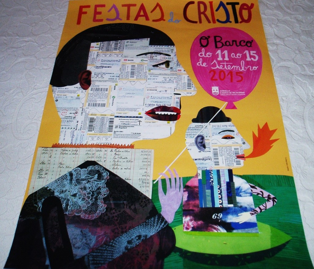 Cartel que anuncia las fiestas de O Cristo de O Barco 2015 realizado por Iván Prieto