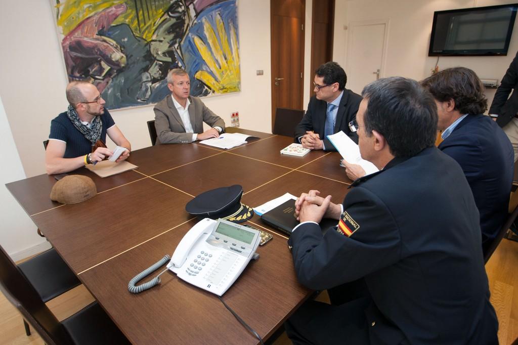 El vicepresidente, Alfonso Rueda, junto al secretario general de Deportes, José Ramón Lete, y el secretario general de Medio Rural y Montes, Tomás Fernández-Couto