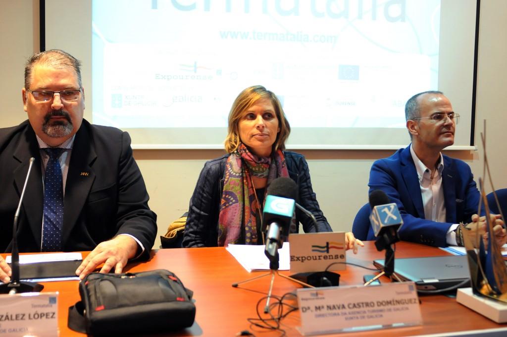 La directora de Turismo de Galicia, Nava Castro, junto con el delegado territorial de la Xunta en Ourense, Rogelio Martínez, participó ayer en la presentación de la 15ª edición de la Feria Internacional del Turismo Termal, Salud y Bienestar, Termatalia