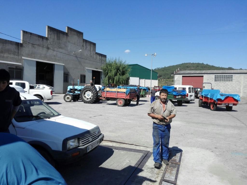 Exterior de la cooperativa de Larouco (tractores descargando)