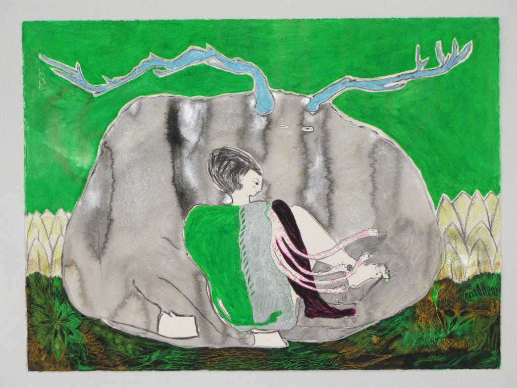 Kundalini. Mixta sobre papel. 77 x 57 cm.