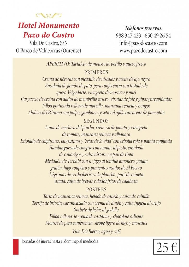 Menú de O Pazo do Castro para las XXXI Jornadas Gastronómicas del Bierzo