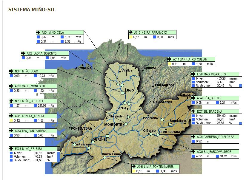 Captura del sistema de la CHMS para ver la calidad de las aguas en Tiempo Real
