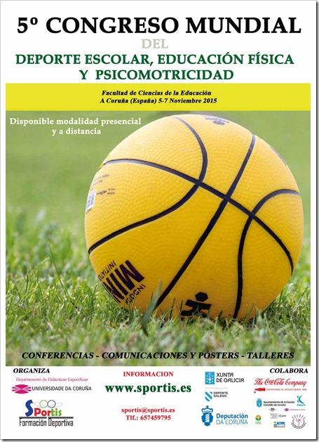 Cartel V Congreso Mundial del Deporte Escolar, Educación Física y Psicomotricidad