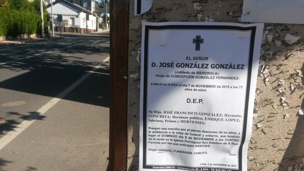 Esquela donde se anunciaba el funeral de don José González