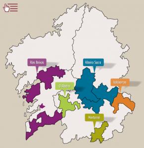 Mapa rutas de los vinos de Galicia