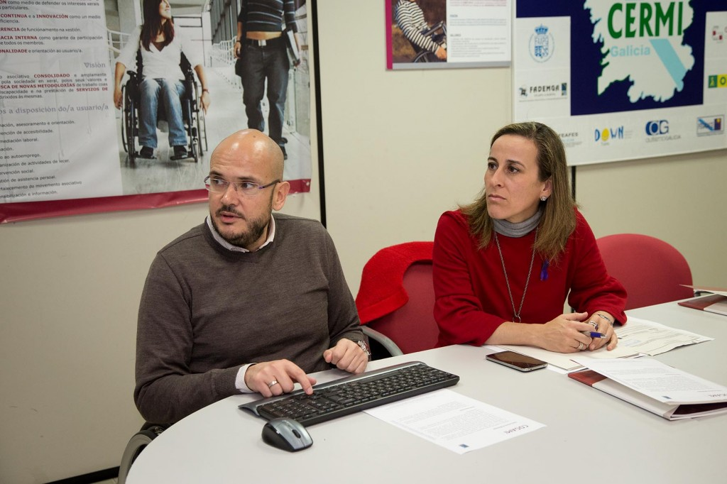 Ethel Vázquez con el presidente de la Confederación Gallega de Personas con Discapacidad  Autor: Xoán Crespo