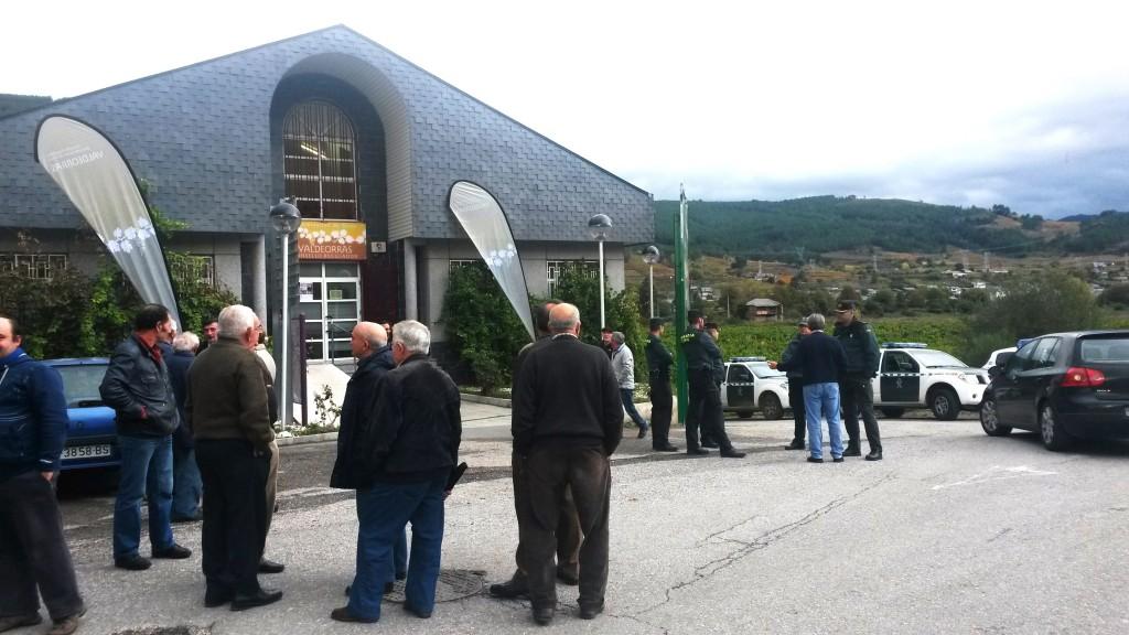 Protesta que realizaron frente al Consello Regulador los cooperativistas