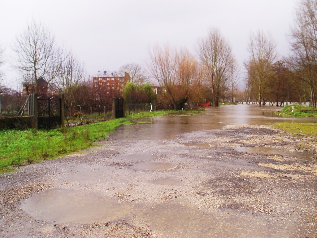El río llegó hasta el cierre de estos inmuebles y anegó este vial en O Barco