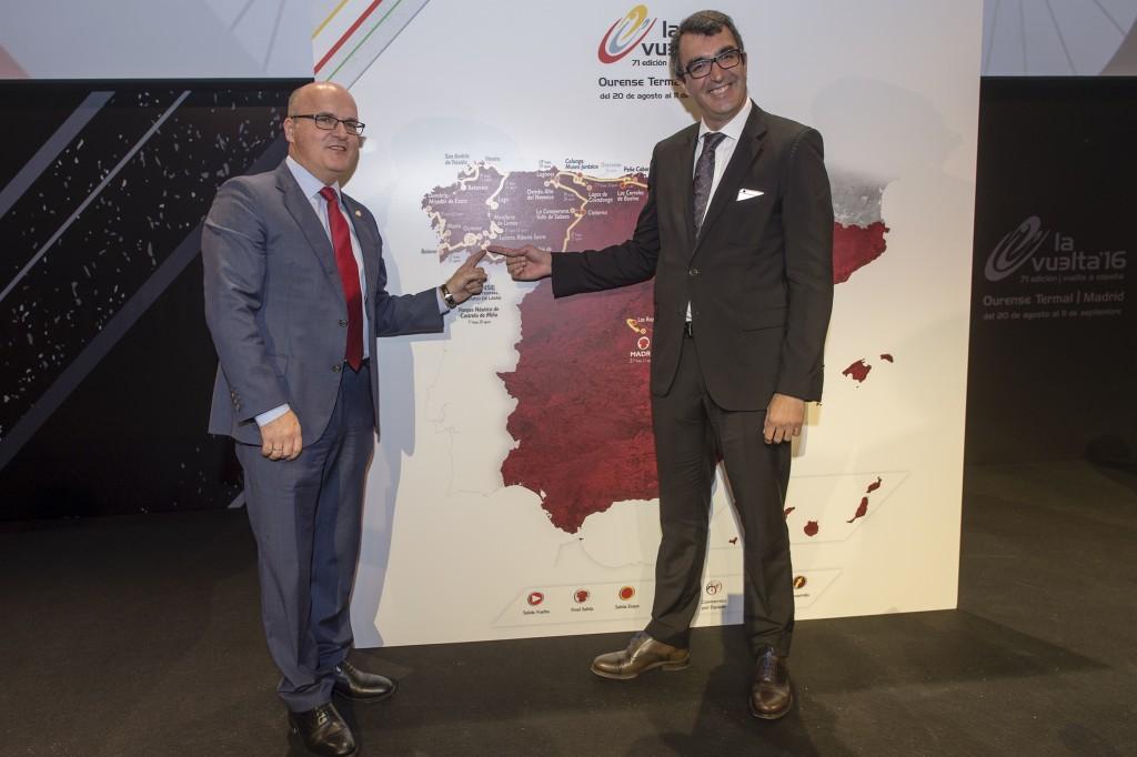 Manuel Baltar e Javier Guillén na presentación da Vuelta a España 2016