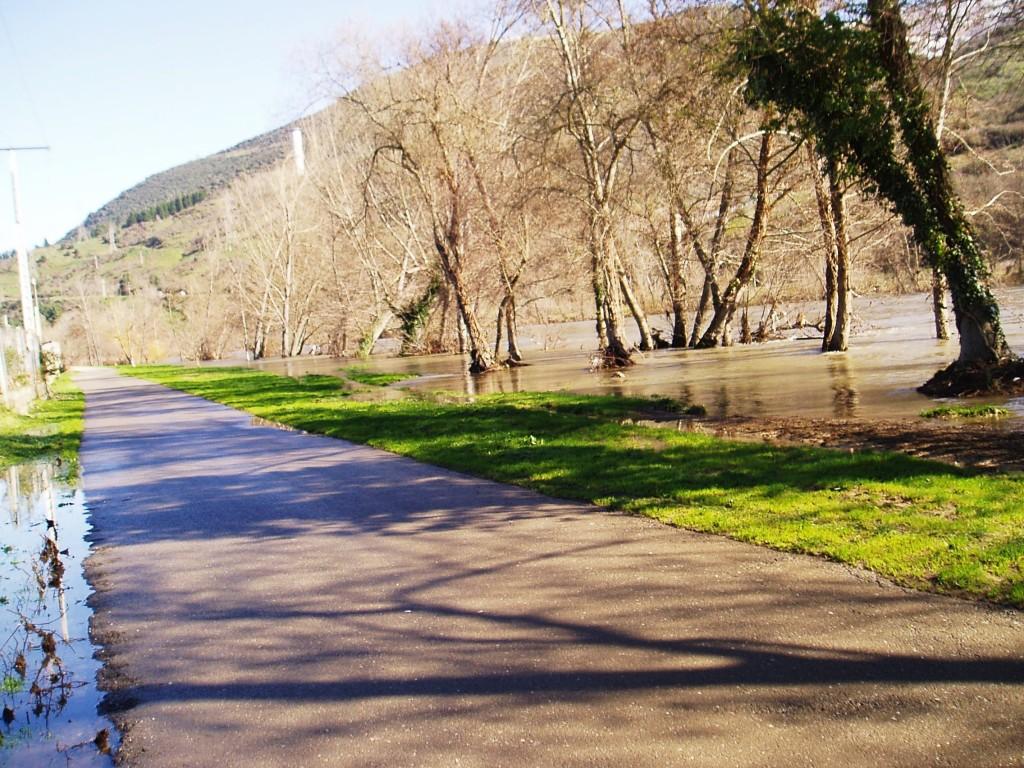 El agua del río Sil llega hasta este vial que conduce a O Aguillón