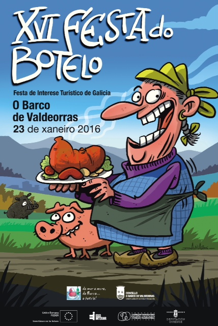 Cartel XVI Festa do Botelo do Barco, gañador do 3º premio