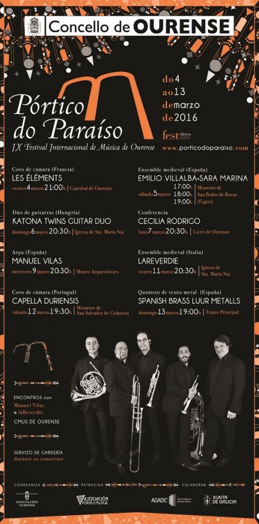 O Festival Internacional de Música de Ourense 'Pórtico do Paraíso' celebrará a súa novena edición do 4 ao 13 de marzo