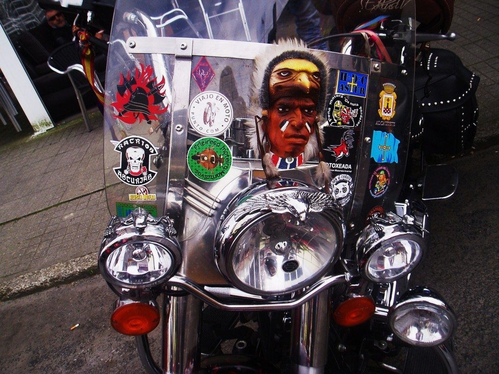 El parabrisas de su moto