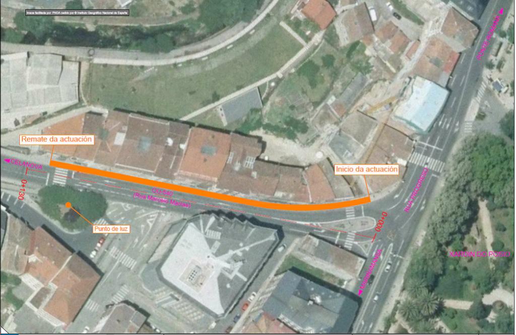 La Consellería de Infraestructuras y Vivienda inició ayer las actuaciones de mejora en el trecho de la carretera OU-540 que se corresponde con la calle Marcelo Macías, en Ourense