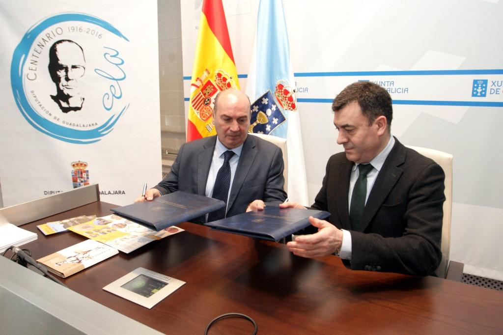 El presidente de la Diputación de Guadalajara y el consejero de Cultura y Educación firmaron un protocolo de colaboración para impulsar la celebración conjunta del centenario del nacimiento del Premio Nobel gallego  Autor: Conchi Paz