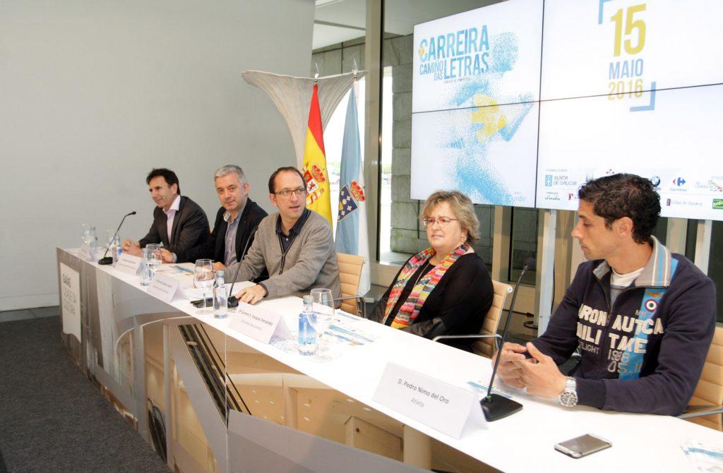 La nueva edición de la carrera la dieron a conocer esta mañana en rueda de prensa los secretarios generales de Cultura y de Política Lingüística, Anxo Lorenzo y Valentín García  Autoría: Conchi Paz