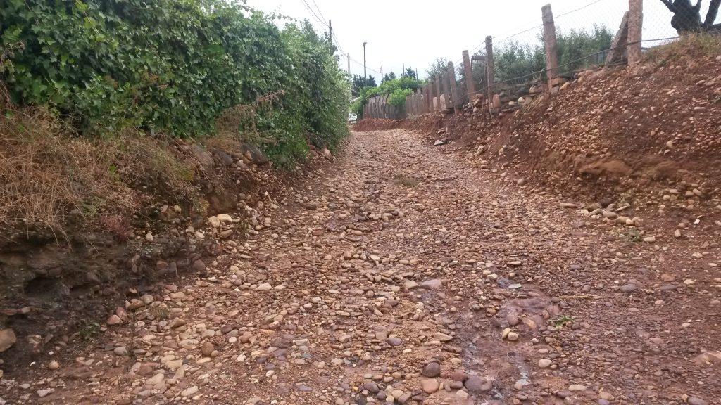 La tormenta arrastró hasta la carretera parte de este camino
