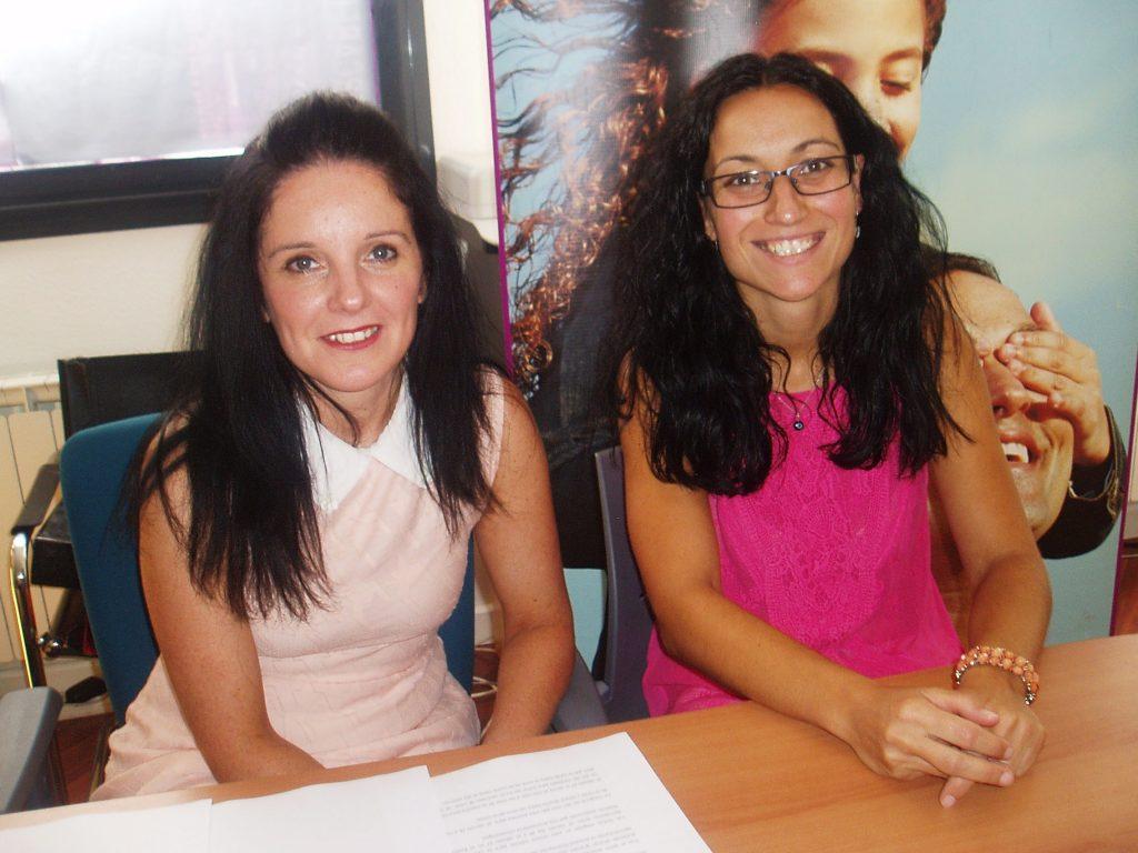 Ángeles Rodríguez y Sandra Moldes, antes de la presentación de Mercaberto