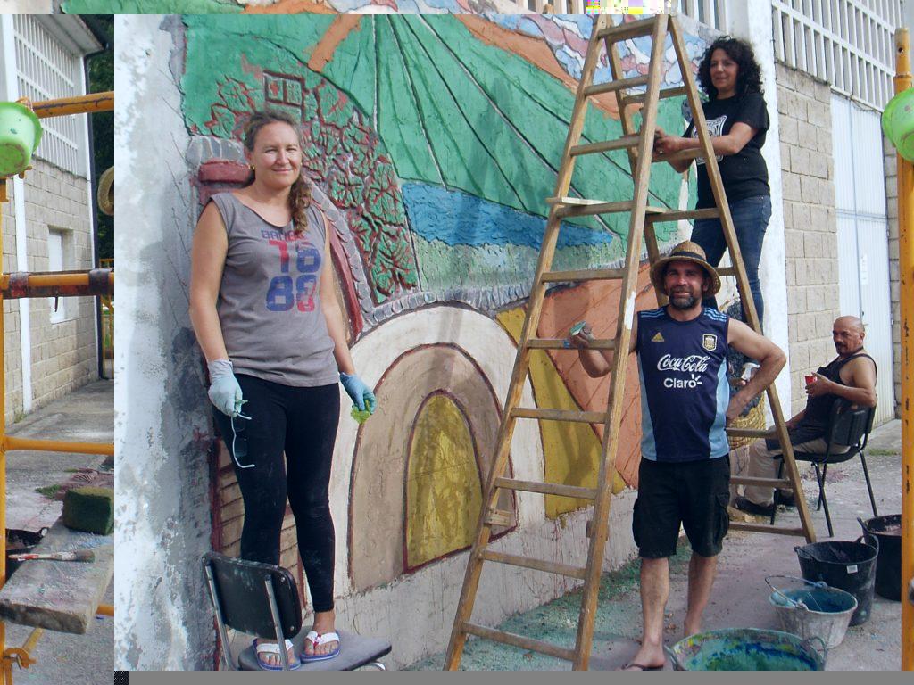 A punto de finalizar el mural de Vilamartín