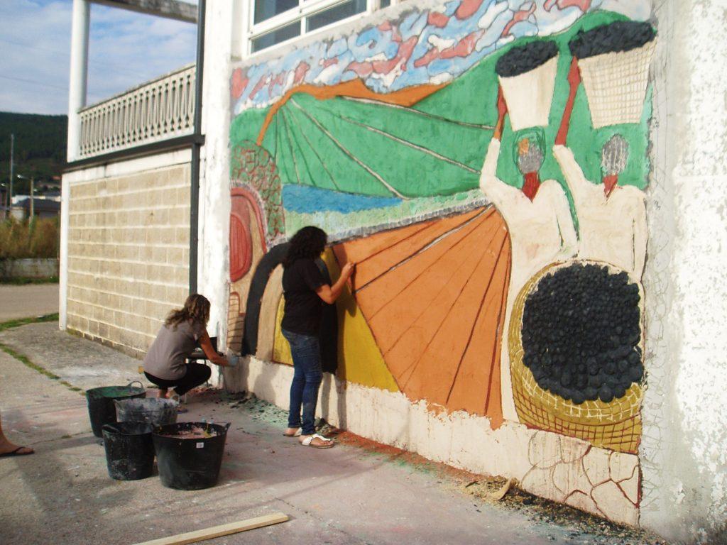 El mural de Vilamartín casi ya finalizado