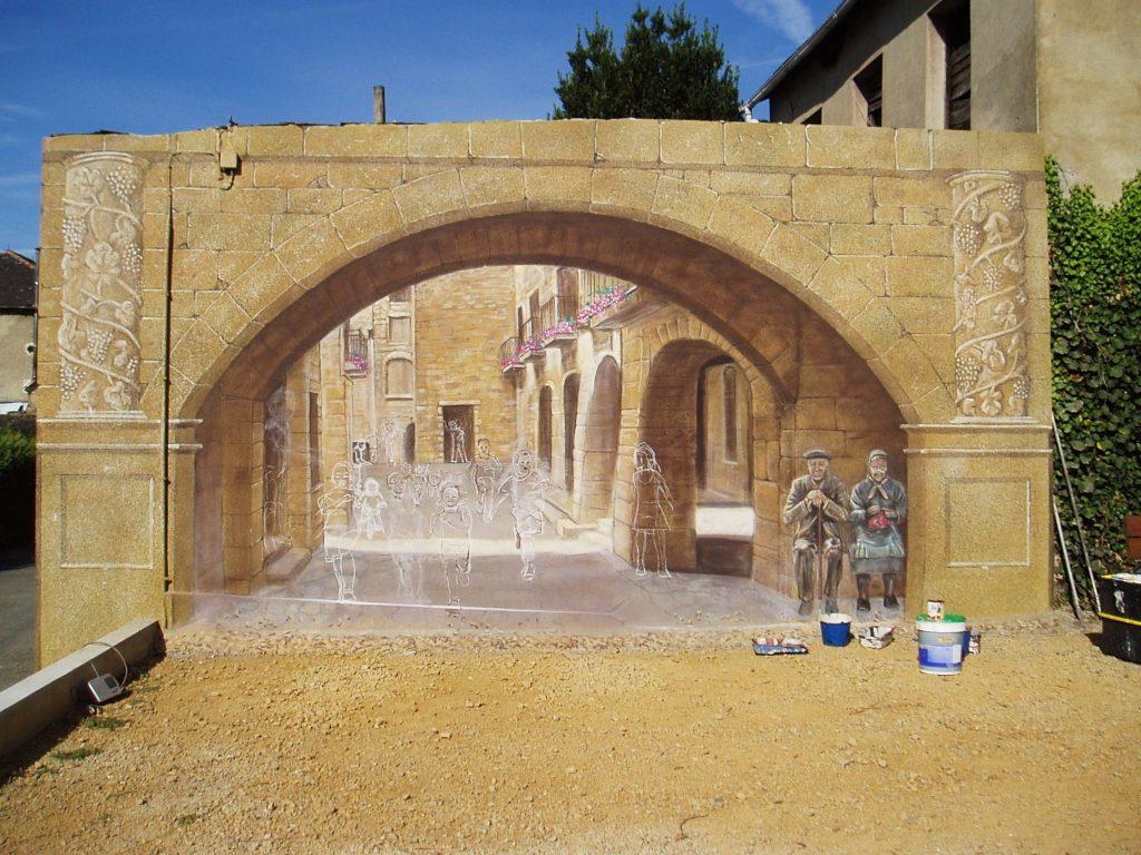 El mural del parque del Camiño de O Barrio aún sin terminar