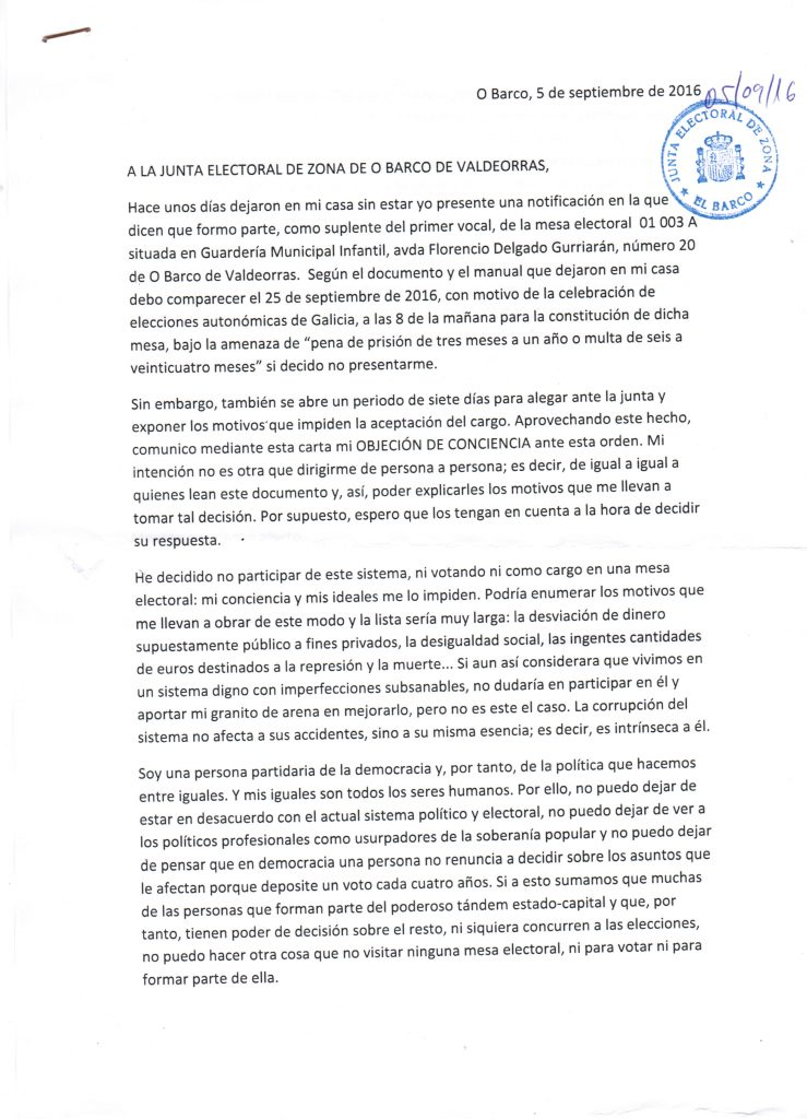 Carta electoral sellada. Parte 1